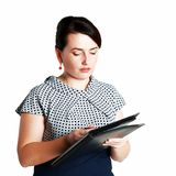 Woman holding folder Royalty Free Stock Image