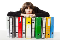 Woman holding folders Stock Images