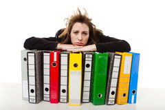 Woman holding folders Royalty Free Stock Photo
