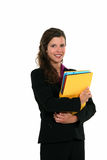 Woman holding folders Royalty Free Stock Image