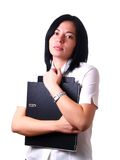 Woman is holding folders at work Royalty Free Stock Image