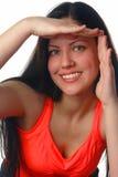 Woman holding frame Stock Photo