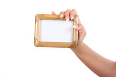 Woman holding frame Royalty Free Stock Photography