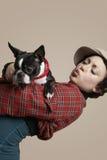 Woman Holding French Bulldog Royalty Free Stock Photo