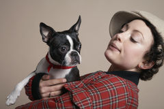Woman Holding French Bulldog Royalty Free Stock Photo