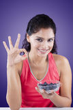 Woman Holding Fresh Blueberries Royalty Free Stock Photography