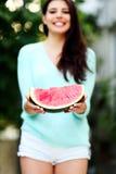 Woman holding fresh watermelon Royalty Free Stock Photos