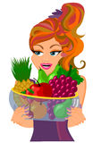 Woman holding fruit om glass bowl Stock Photo
