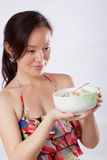 woman holding fruit salad 1 Royalty Free Stock Image
