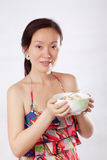 woman holding fruit salad 2 Royalty Free Stock Images