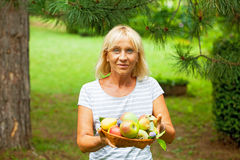Woman holding fruits Stock Photos