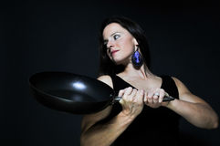 Woman Holding Frying Pan Stock Photo