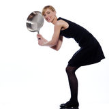 Woman holding frying pan Royalty Free Stock Image