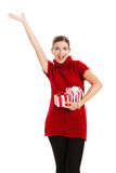 Woman holding a gift Royalty Free Stock Photography