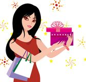 Woman holding a gift. The woman came home from shopping with a gift Stock Illustration