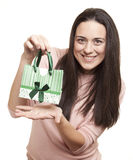 Woman holding a gift Stock Photography