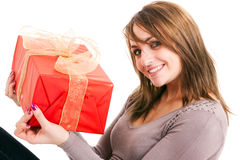 Woman holding gift Royalty Free Stock Photo