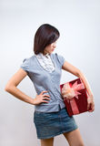 Woman holding gift box Stock Photo