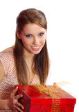 Woman holding a gift box Stock Photo
