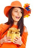 Woman holding gift box . Royalty Free Stock Image