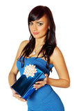Woman holding a gift box Royalty Free Stock Photography