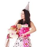 Woman holding gift box at birthday party. Royalty Free Stock Image