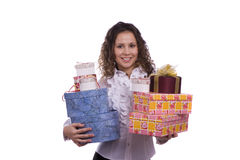 Woman holding gift box for Christmas Stock Photography