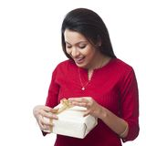 Woman holding gift box Stock Photography