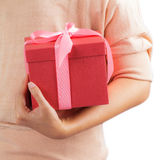 Woman holding gift box Royalty Free Stock Photography