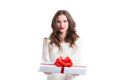 Woman holding gift Isolated. Stock Photography