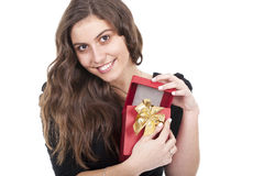Woman holding a gift red box Stock Image