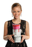 Woman holding gifts Stock Photo
