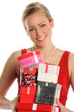 Woman Holding Gifts Stock Images