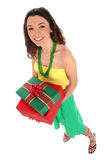 Woman holding gifts. Beautiful young woman holding gifts Stock Photo