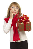 Woman holding giving a gift Stock Photo