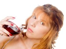 Woman holding glass Royalty Free Stock Photography