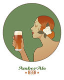 Woman holding a glass of beer. Amber Ale. Royalty Free Stock Photos
