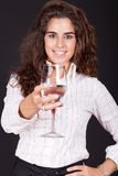 Woman holding a glass of water Stock Photography