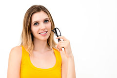 Woman holding glasses Stock Photo