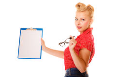 Woman holding glasses and clipboard isolated Stock Photos