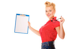 Woman holding glasses and clipboard isolated Stock Photography