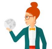 Woman holding globe Stock Photo