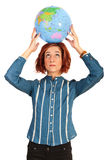 Woman holding globe Royalty Free Stock Photo