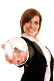 Woman holding globe in her hand Stock Image