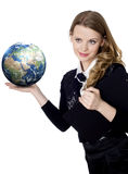 Woman holding globe in her hand on white Stock Photo