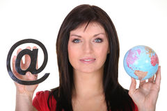 Woman holding globe Stock Images