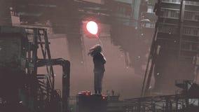 Woman holding glowing balloon in futuristic city