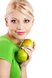 Woman holding green apple Stock Image