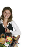 Woman Holding Groceries Bag Royalty Free Stock Photography
