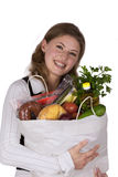 Woman Holding Groceries Bag Stock Photo